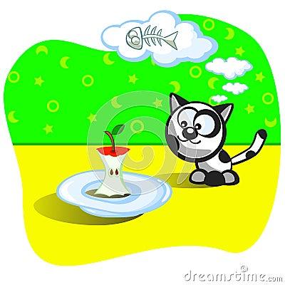 Kitten and food