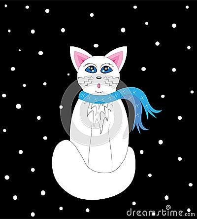 The kitten looks at snow.