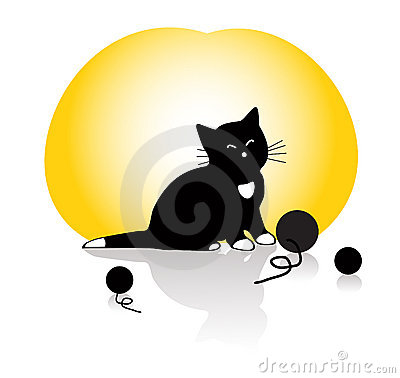 A kitten playing with knitting balls