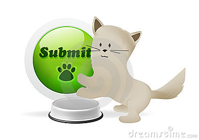 Kitten pressing submit button