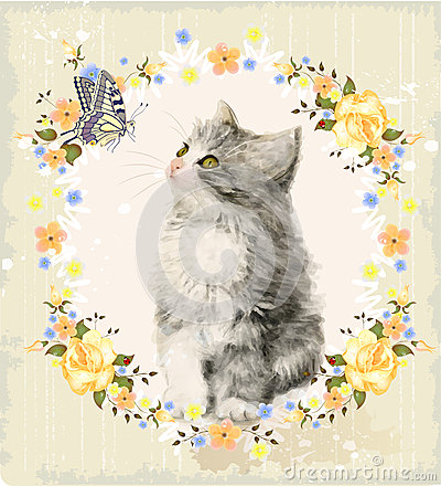 Free Kitten, Roses And Butterfly. Royalty Free Stock Images - 56967089