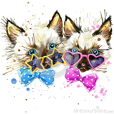 Free Kittens Twins T-shirt Graphics. Kittens Twins Illustration With Splash Watercolor Textured  Background. Unusual Illustration Wate Stock Photography - 56799182