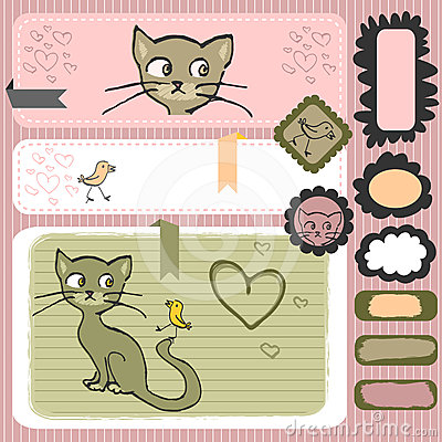 Kitty and bird scrapbook elements