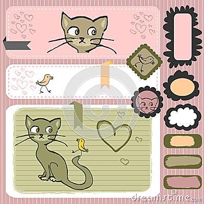 Kitty and bird scrapbook elements