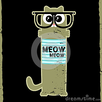 Kitty in hipster glasses
