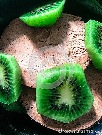 Kiwi And Chocolate Icecream Stock Photo - Image: 72054757