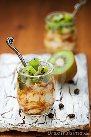 Kiwi,coffee and ricotta dessert