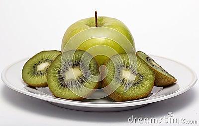 Kiwi fruit and apple