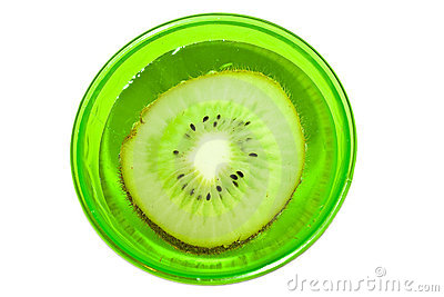Kiwi fruit in a glass with water