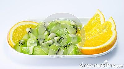 Kiwi fruit and orange slice