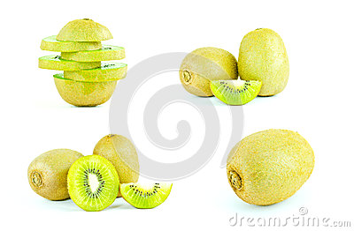 Kiwi fruit and sliced segments isolated on white background