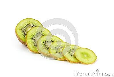 Kiwi fruit slices on white
