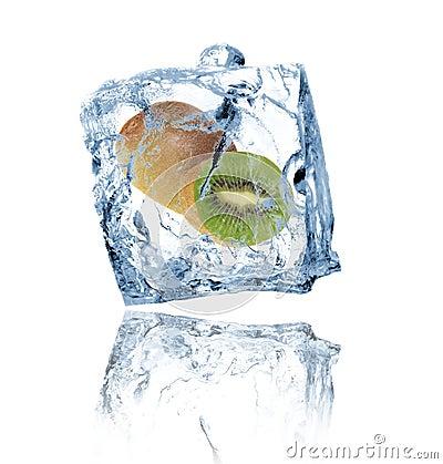 Kiwi in ice cube