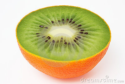 Kiwi inside orange peel