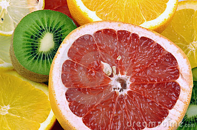 Kiwi, orange, lemon and grapef
