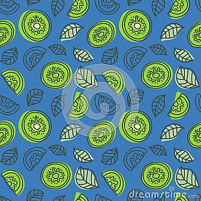Free Kiwi Seamless Pattern. Hand Drawn Fresh Tropical Fruit. Multicol Stock Photos - 121670713