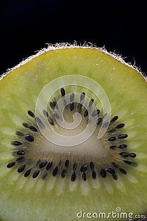 Kiwi Slice on Black Background