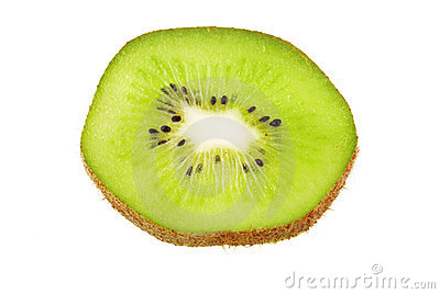 Kiwi slice isolated on white