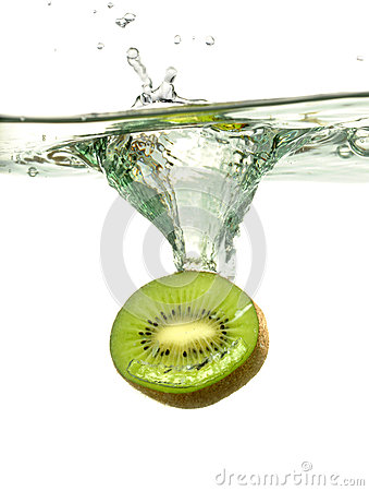 Kiwi Slice Splashing Into Water