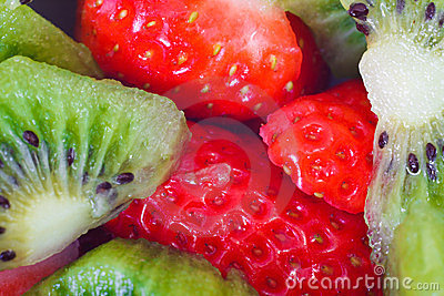 Kiwi and strawberry fruits