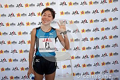 Kiyoko Shimahara at Honolulu Marathon press confer Editorial Stock Image