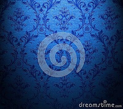 Behang barok blauw