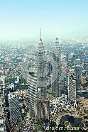 KLCC Petronas Twin Tower Kuala Lumpur Skyline Aeri Editorial Stock Photo