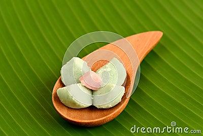 Kleeb Lamduan (thai name) Thai Shortbread Cookies, on a background of ...