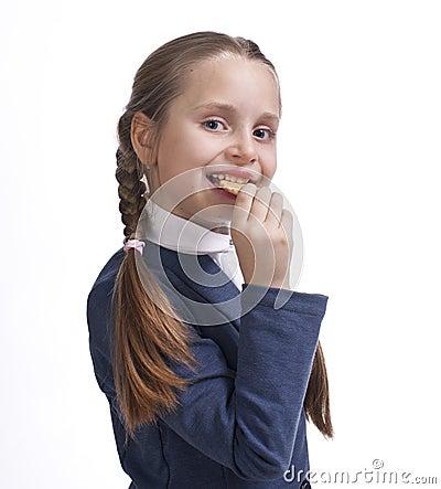 Klein meisje die koekjes eten royalty vrije stock foto 39 s afbeelding 29085858 - Klein meisje idee ...