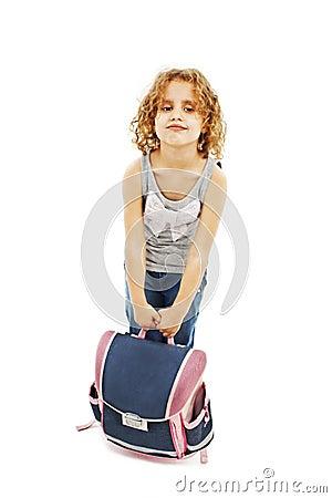Klein meisje die zware schooltas dragen stock foto 39 s afbeelding 29190743 - Klein meisje idee ...