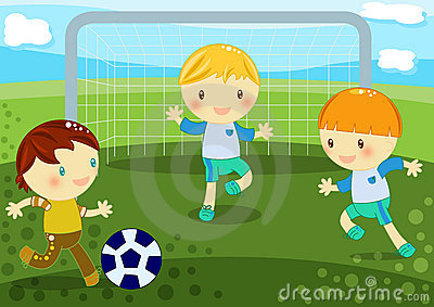 Kleine jongens die voetbal spelen