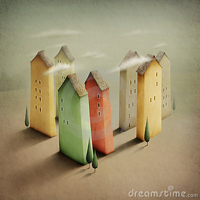 Kleine kleurrijke stad