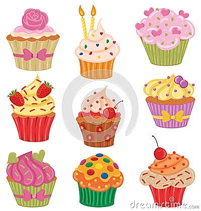 Kleine Kuchen eingestellt