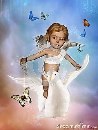 Kleiner Engel, der eine Taube reitet