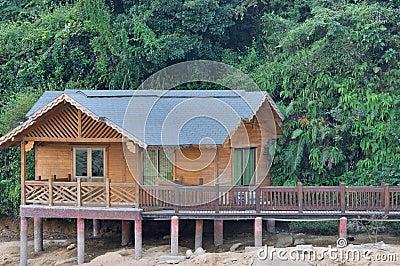 Kleines hölzernes Haus, das mit Grünpflanze surrouding ist