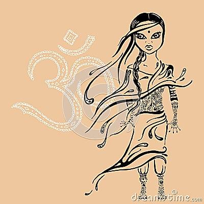 Kleines schönes indisches mädchen gezeichnete illustration des