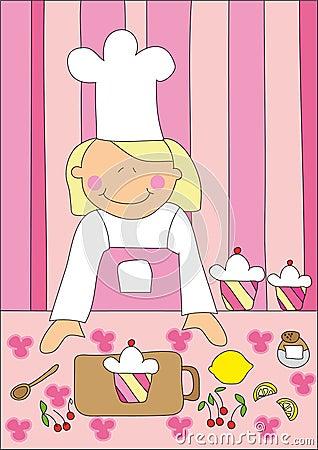 Kleines Mädchen und Kuchen