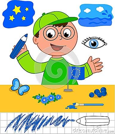 Kleuren: jongen met blauwe voorwerpen