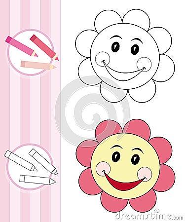 Kleurende boekschets: bloem