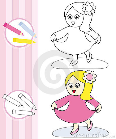 Kleurende boekschets: dansend meisje