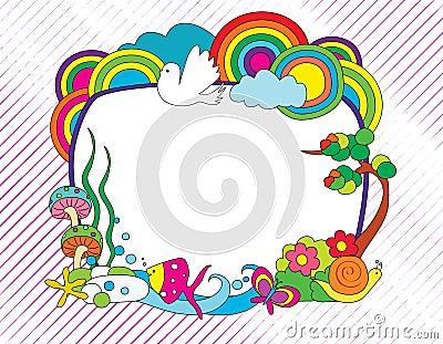 Kleurrijk krabbelframe
