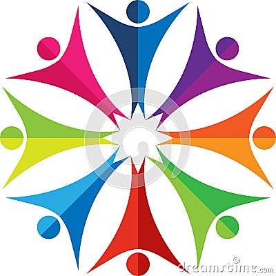 Kleurrijk mensenembleem