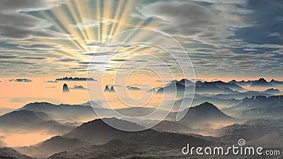 Kleurrijke dageraad over nevelige bergen vector illustratie