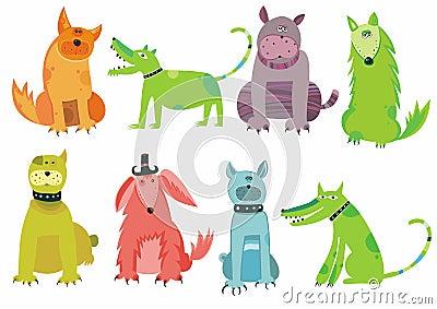 Kleurrijke geplaatste honden