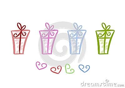 Kleurrijke giftpakketten
