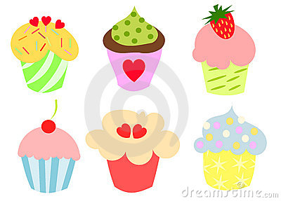 Kleurrijke leuke cupcakes