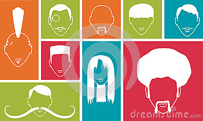 Kleurrijke vierkanten met mensenpictogrammen