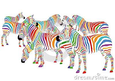 Kleurrijke zebras