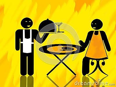 Klienta kelnera kobieta