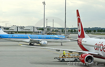 KLM & Air Berlin airplanes Editorial Stock Image